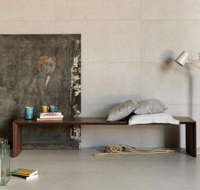 Material inovador e contemporâneo. Mescla de materiais cimentícios e pedras naturais.